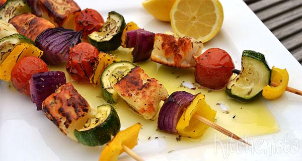 Gegrilde groentespies met halloumi (BBQ)