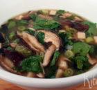 Misosoep met shiitake en waterkers