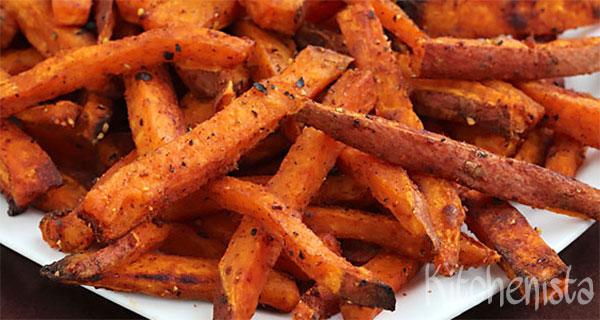 Pittige frites van zoete aardappel