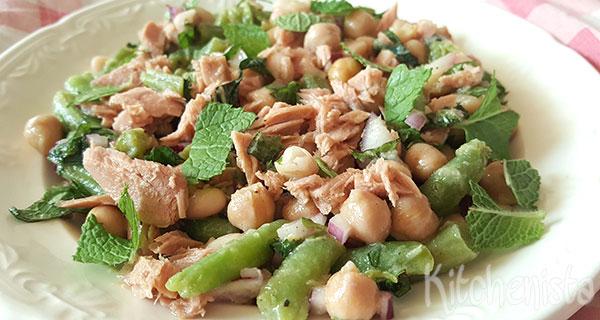 Salade van boontjes met tonijn
