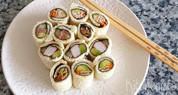 Inside out sushi van brood (zonder rijst)