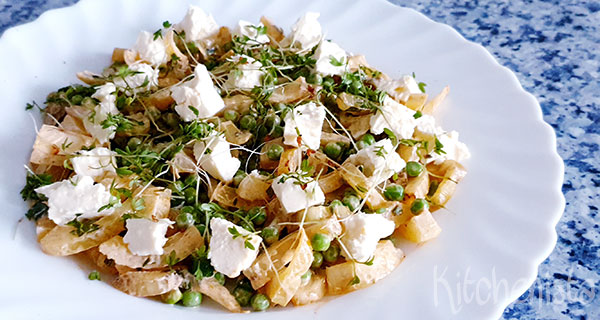 Salade van gegrilde venkel, tuinerwten en feta
