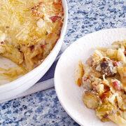 Spruitjes met chorizo, oude kaas en pasta uit de oven