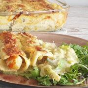 Cannelloni met witvis, zalm, zeevruchten en prei