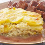 Gratin van knolselderij, prei en aardappel