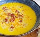 Romige cheddar soep met bier en krokant spek
