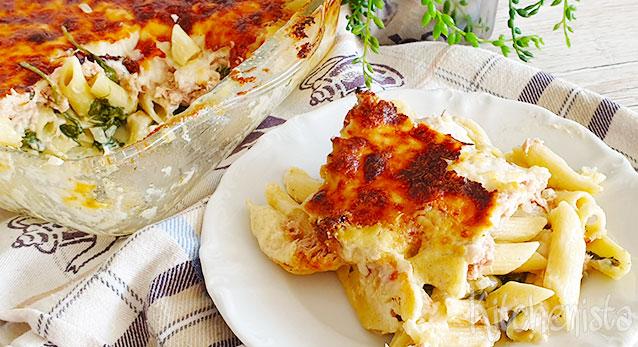 Pasta ovenschotel met tonijn en spinazie