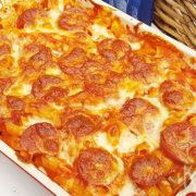 Macaroni & cheese met salami en oregano
