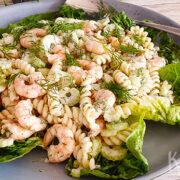 Salade met garnalen, bleekselderij, dille en pasta