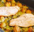 Zalm met krieltjes, prei en kappertjes uit de oven