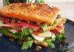 Club sandwich van focaccia in Italiaanse stijl