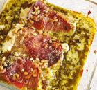 Kabeljauw met prosciutto en pesto uit de oven