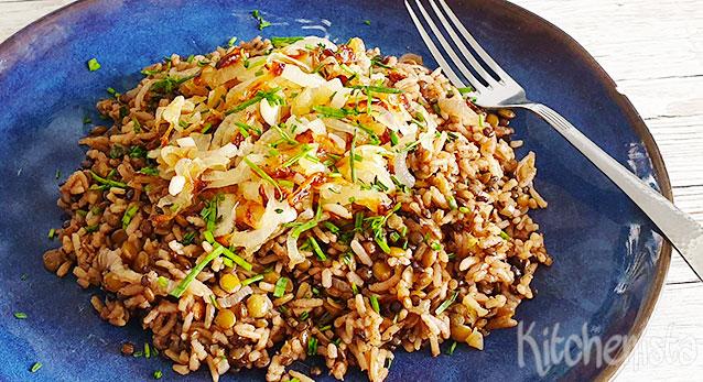 Mujaddara – Midden-Oosters gerecht met rijst en linzen